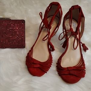 Red suede Vince Camuto strappy heeled sandals